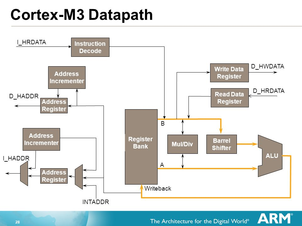 Cortex-M3 Datapath I_HRDATA Instruction Decode D_HWDATA Write Data