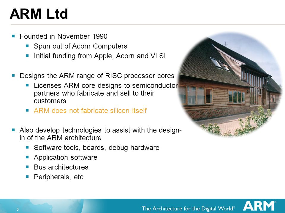 ARM Ltd Founded in November 1990 Spun out of Acorn Computers