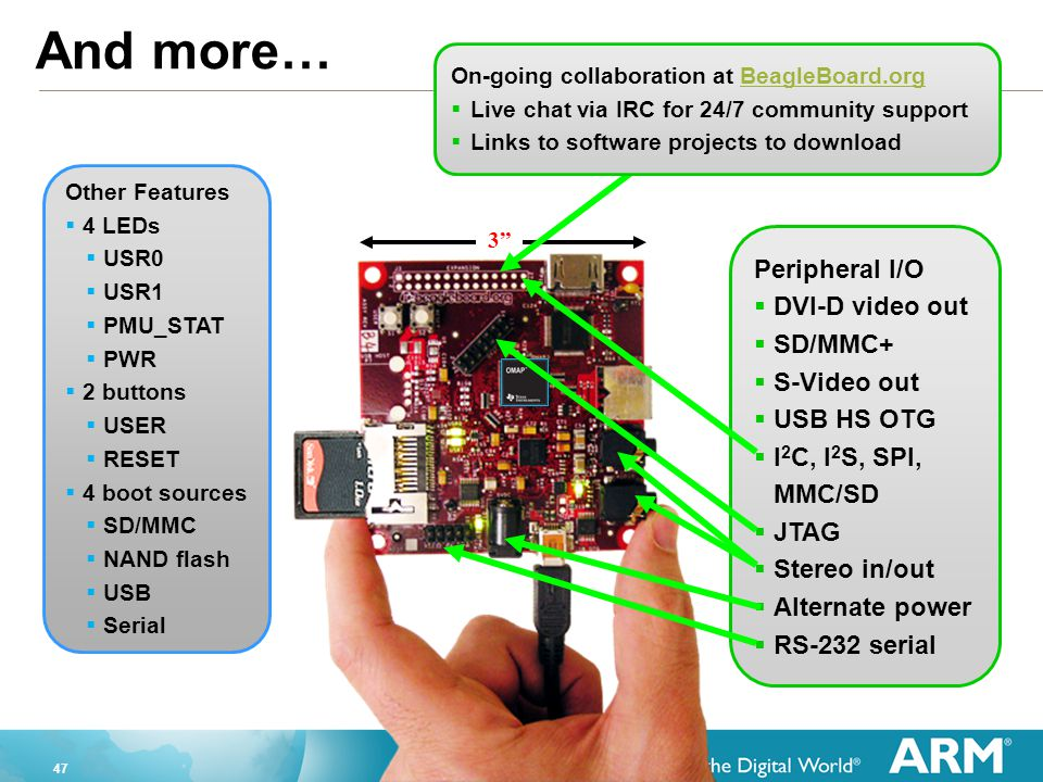 And more… Peripheral I/O DVI-D video out SD/MMC+ S-Video out