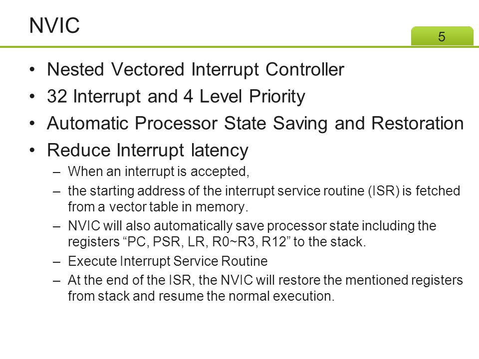 NVIC Nested Vectored Interrupt Controller