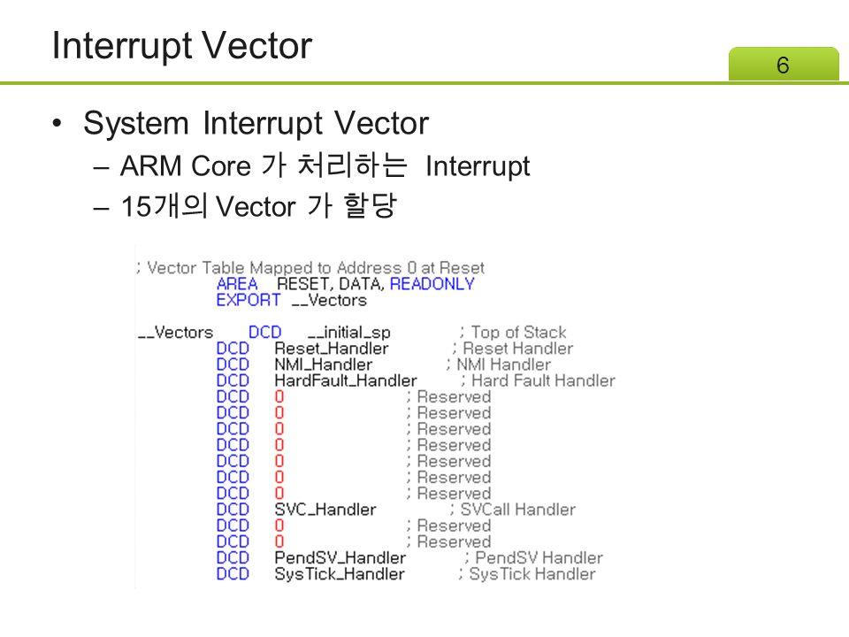Interrupt Vector System Interrupt Vector ARM Core 가 처리하는 Interrupt