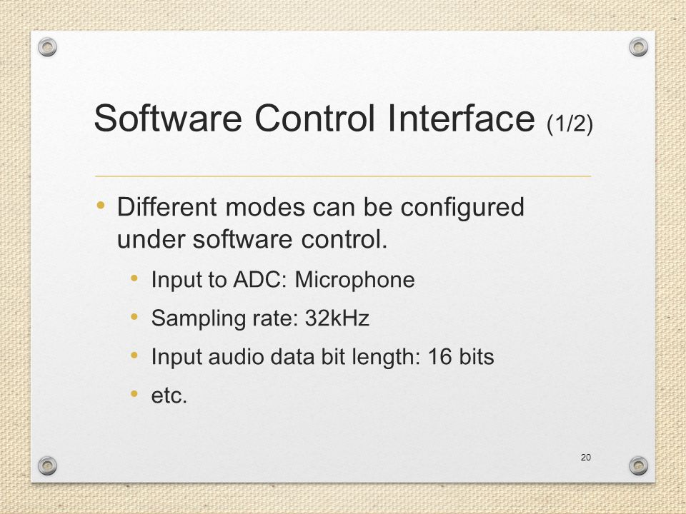 Software Control Interface (1/2)