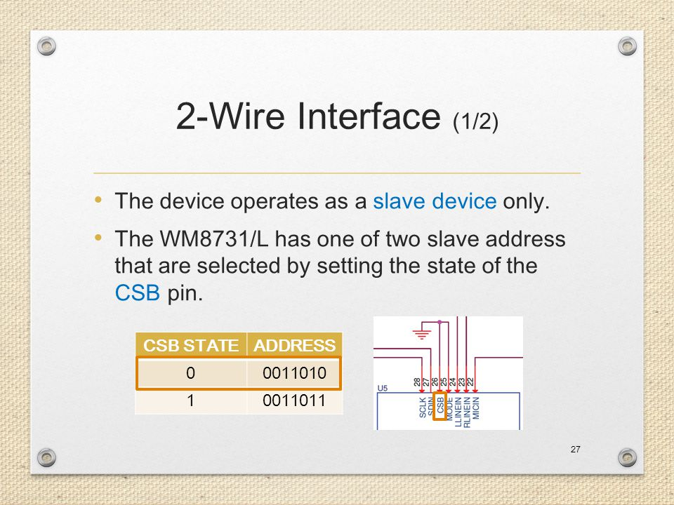 2-Wire Interface (1/2) The device operates as a slave device only.