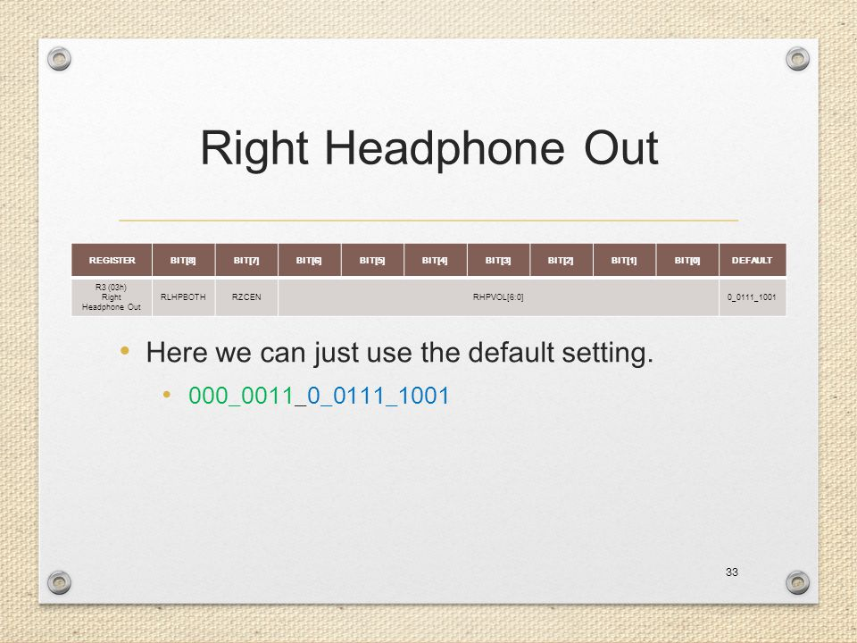 Right Headphone Out Here we can just use the default setting.