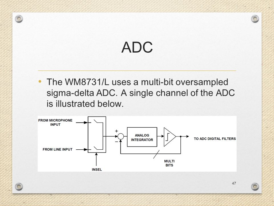 ADC The WM8731/L uses a multi-bit oversampled sigma-delta ADC.