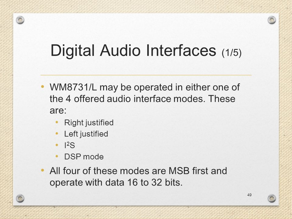 Digital Audio Interfaces (1/5)