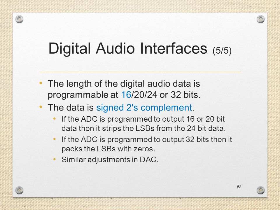 Digital Audio Interfaces (5/5)