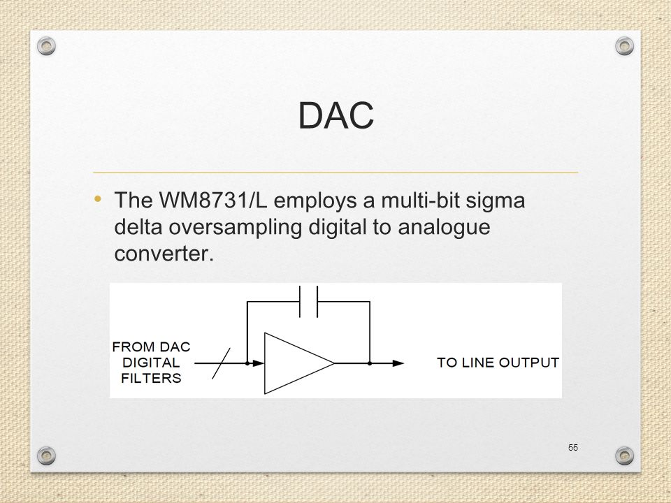 DAC The WM8731/L employs a multi-bit sigma delta oversampling digital to analogue converter.