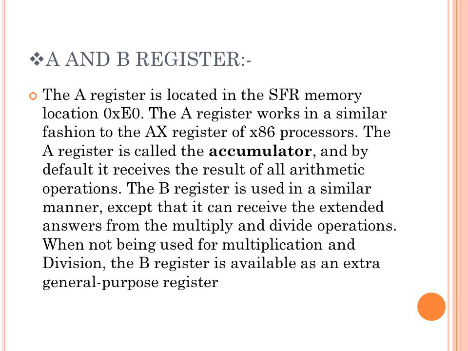 A AND B REGISTER:-