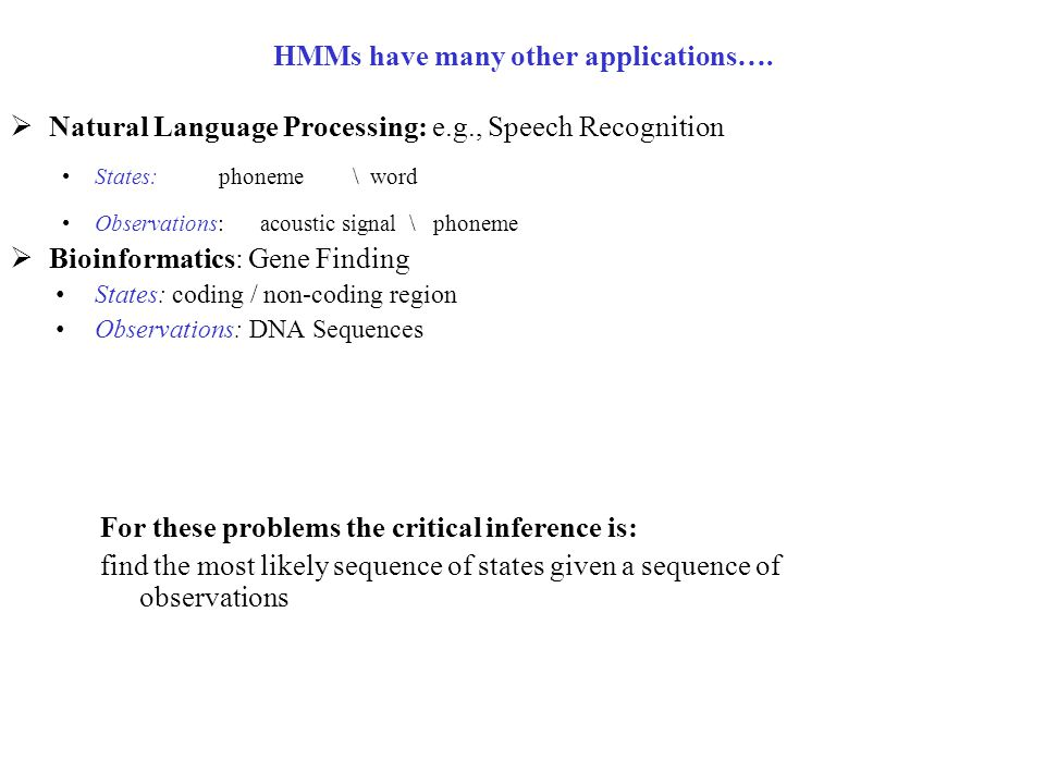 HMMs have many other applications….