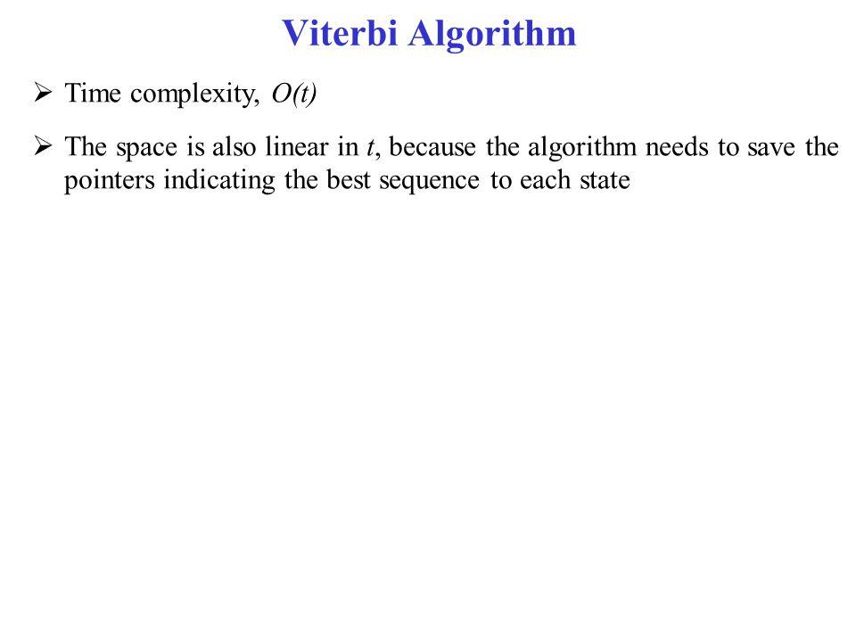 Viterbi Algorithm Time complexity, O(t)