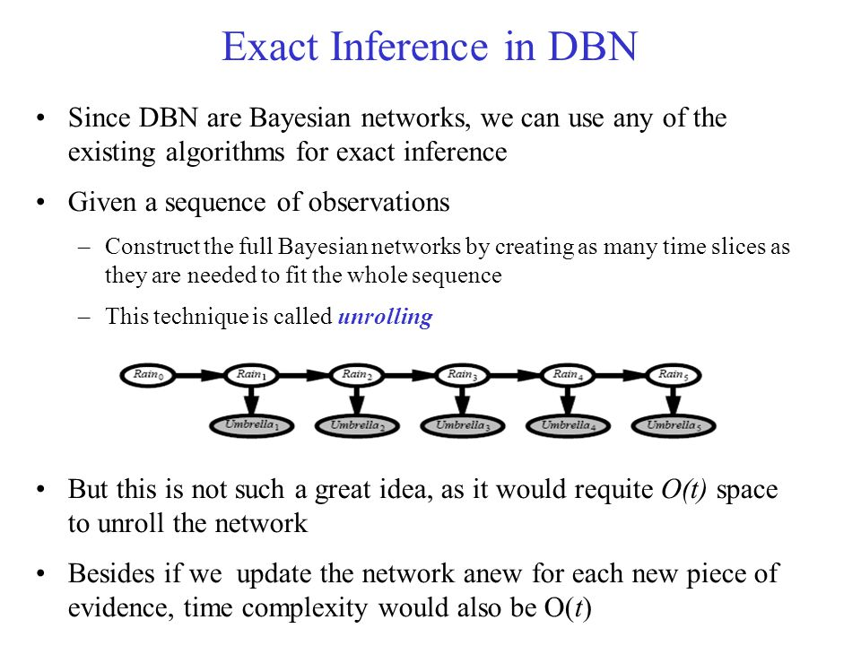 Exact Inference in DBN Since DBN are Bayesian networks, we can use any of the existing algorithms for exact inference.