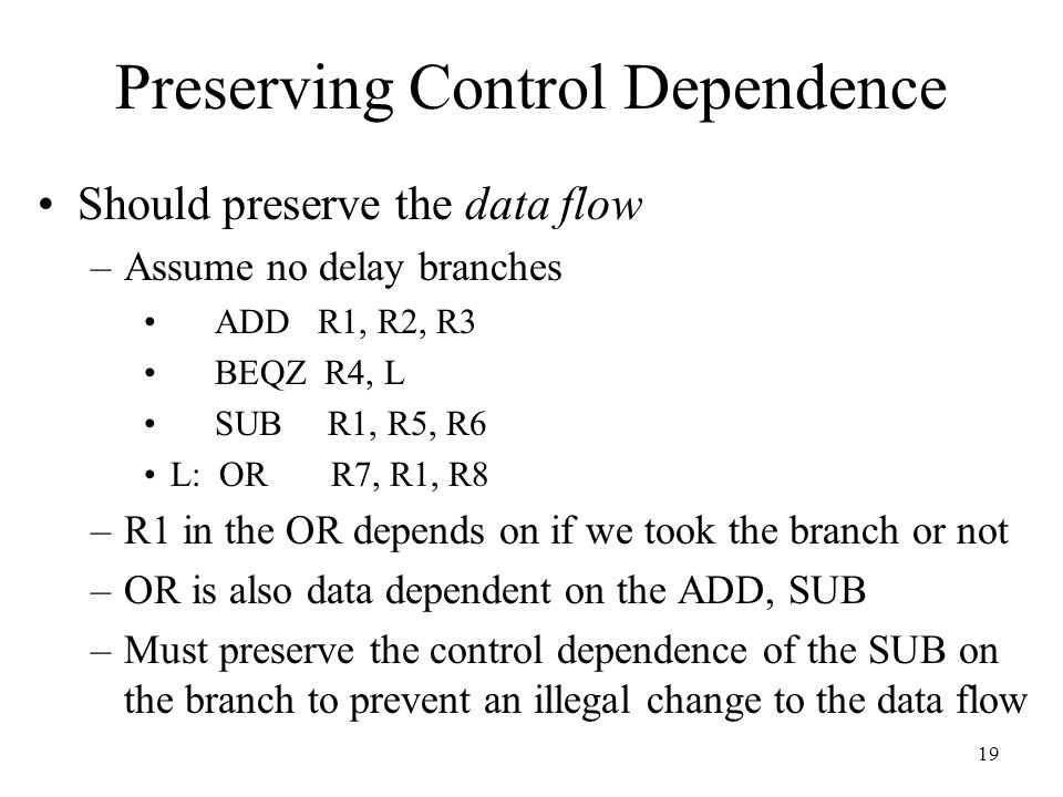 Preserving Control Dependence