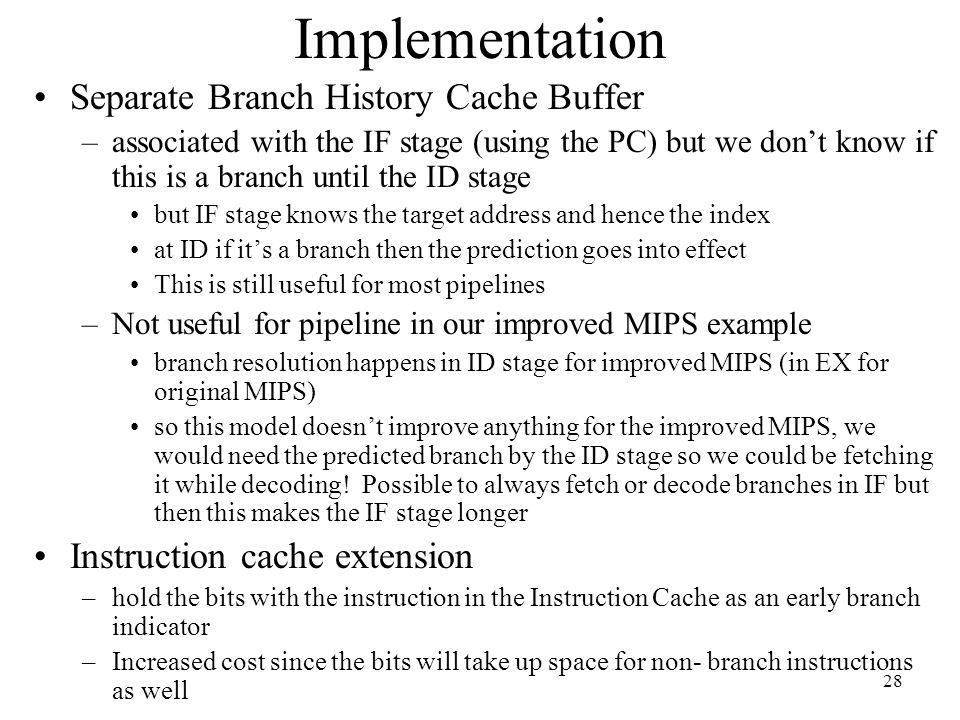 Implementation Separate Branch History Cache Buffer