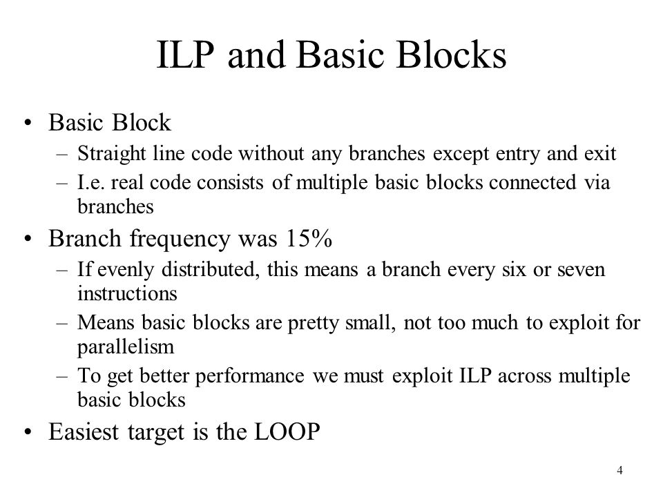 ILP and Basic Blocks Basic Block Branch frequency was 15%