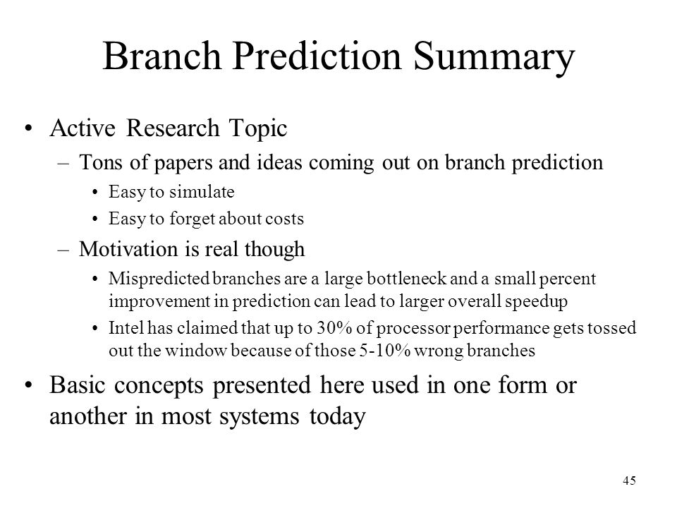 Branch Prediction Summary