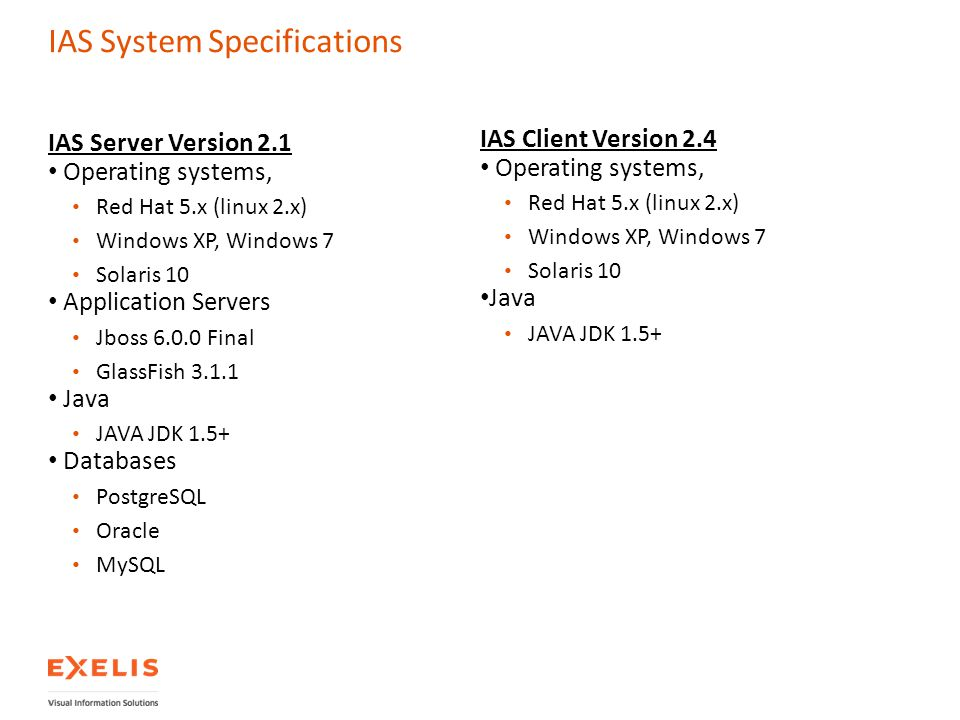 IAS System Specifications