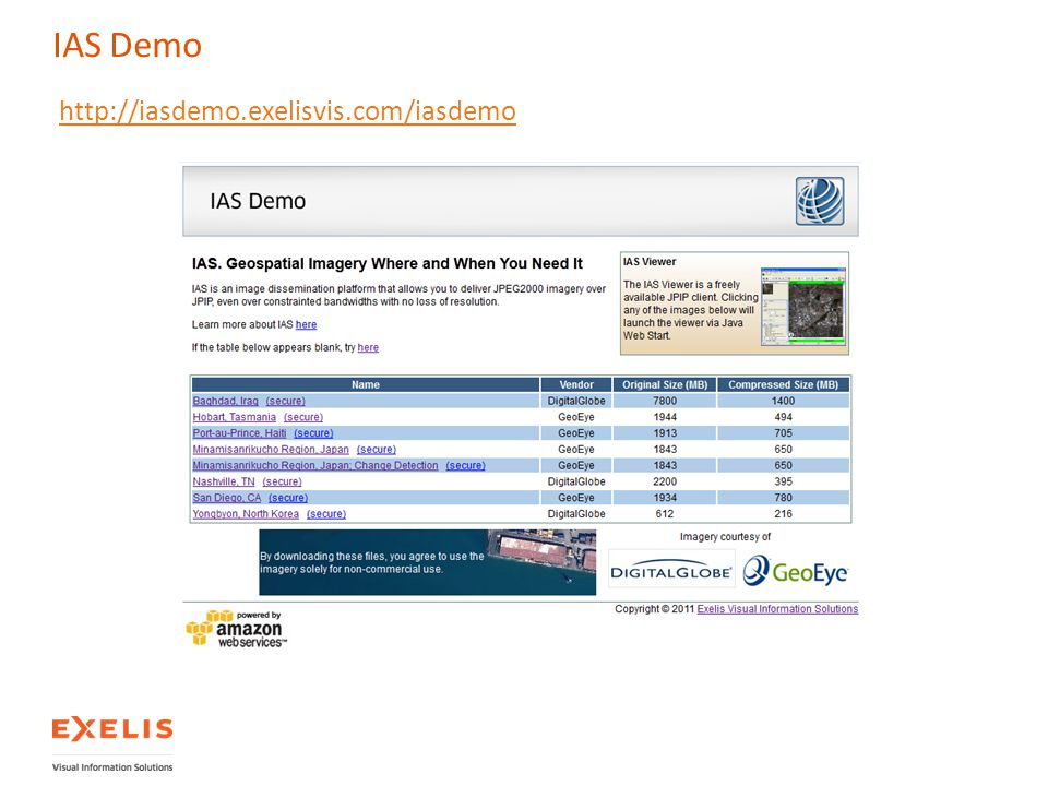 IAS Demo http://iasdemo.exelisvis.com/iasdemo