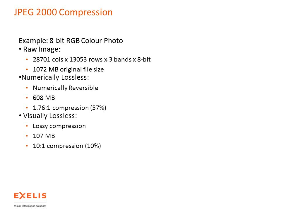 JPEG 2000 Compression Example: 8-bit RGB Colour Photo Raw Image: