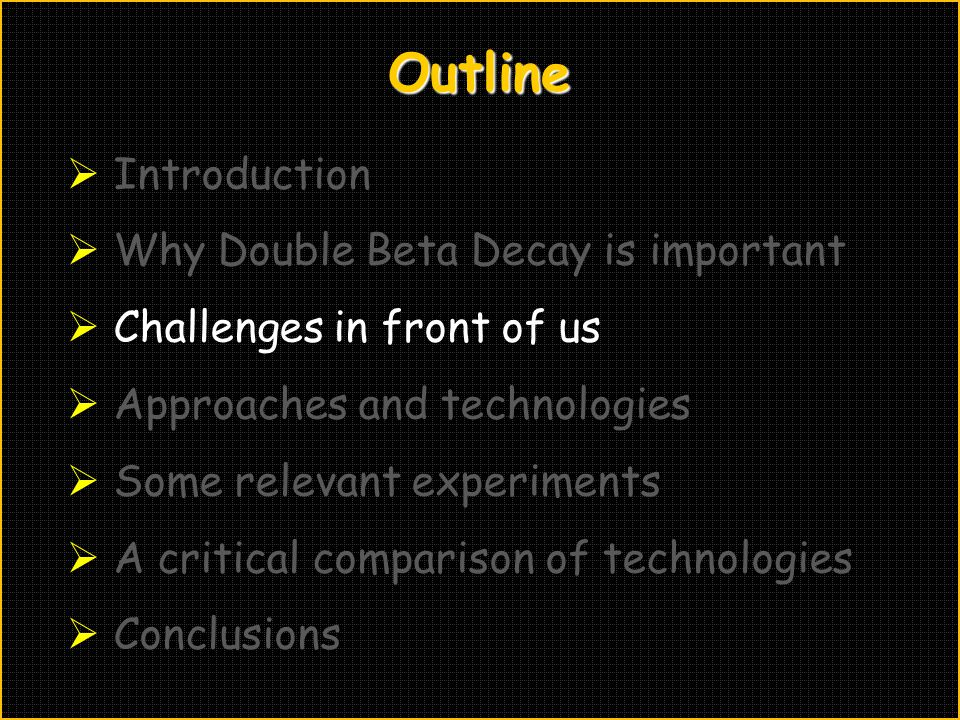 Outline Introduction Why Double Beta Decay is important
