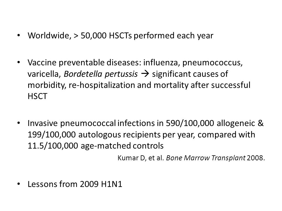 Worldwide, > 50,000 HSCTs performed each year