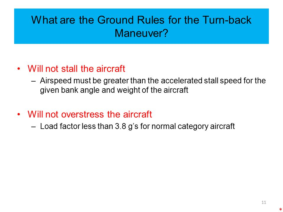 What are the Ground Rules for the Turn-back Maneuver