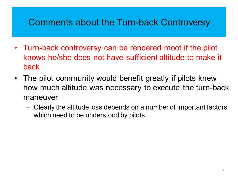 Comments about the Turn-back Controversy