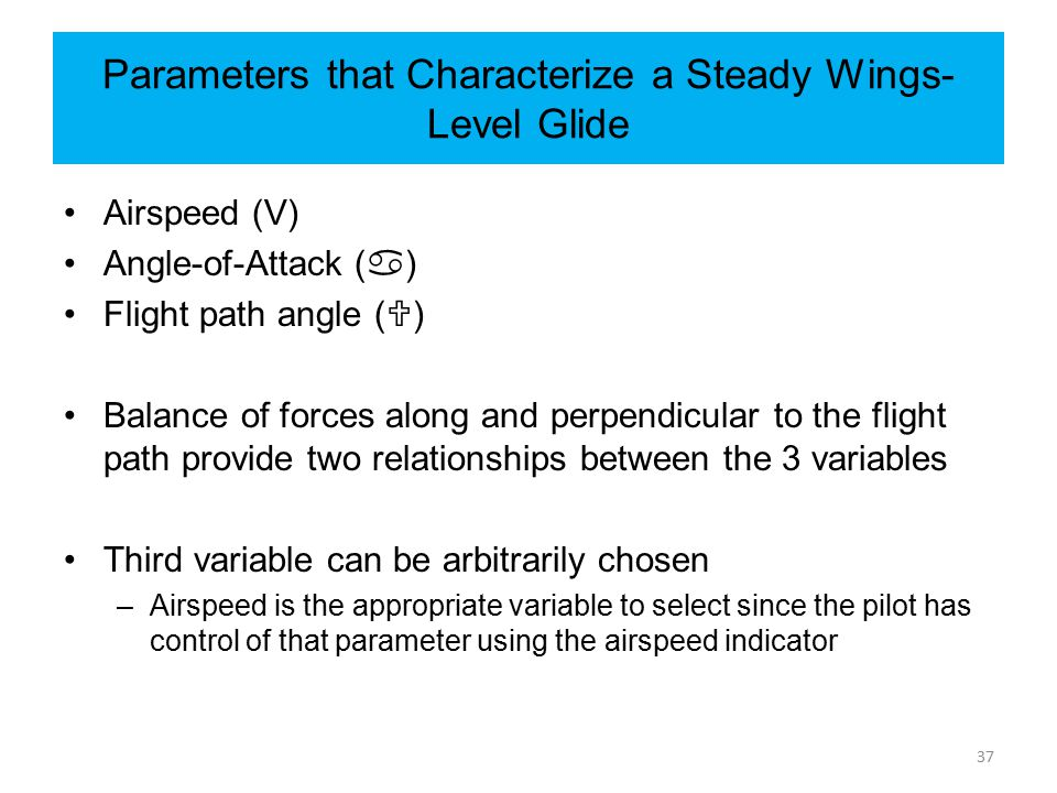 Parameters that Characterize a Steady Wings-Level Glide