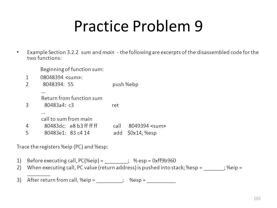 Practice Problem 9 Beginning of function sum: