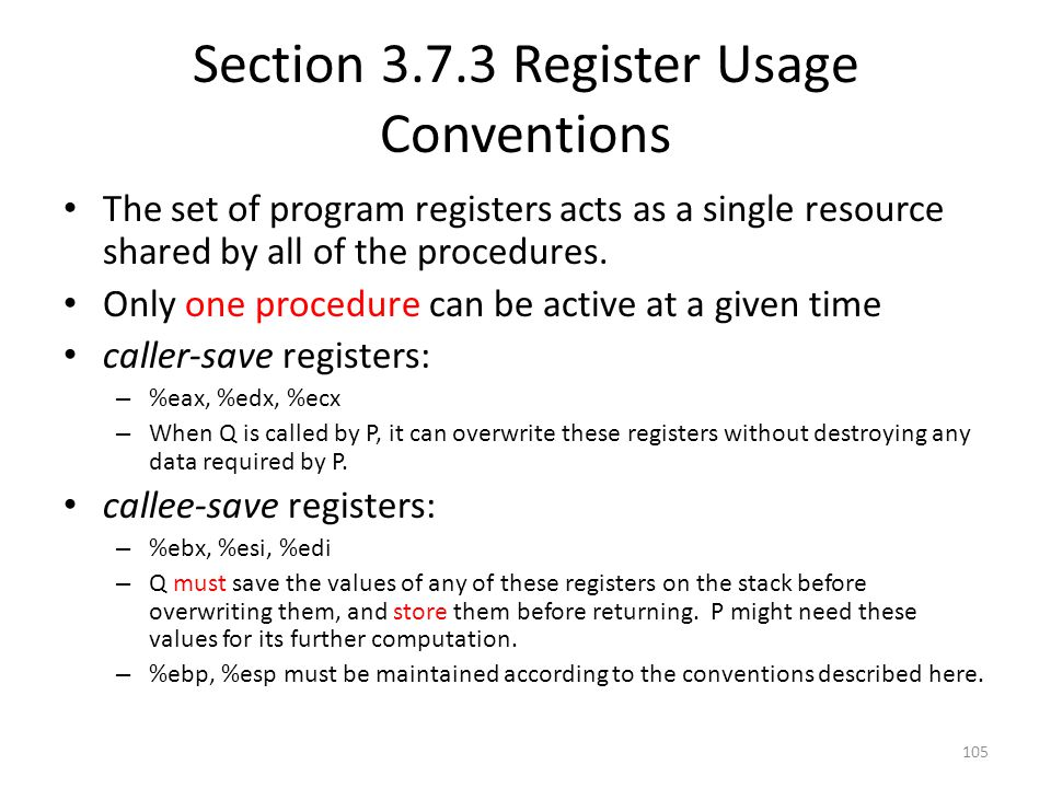 Section Register Usage Conventions