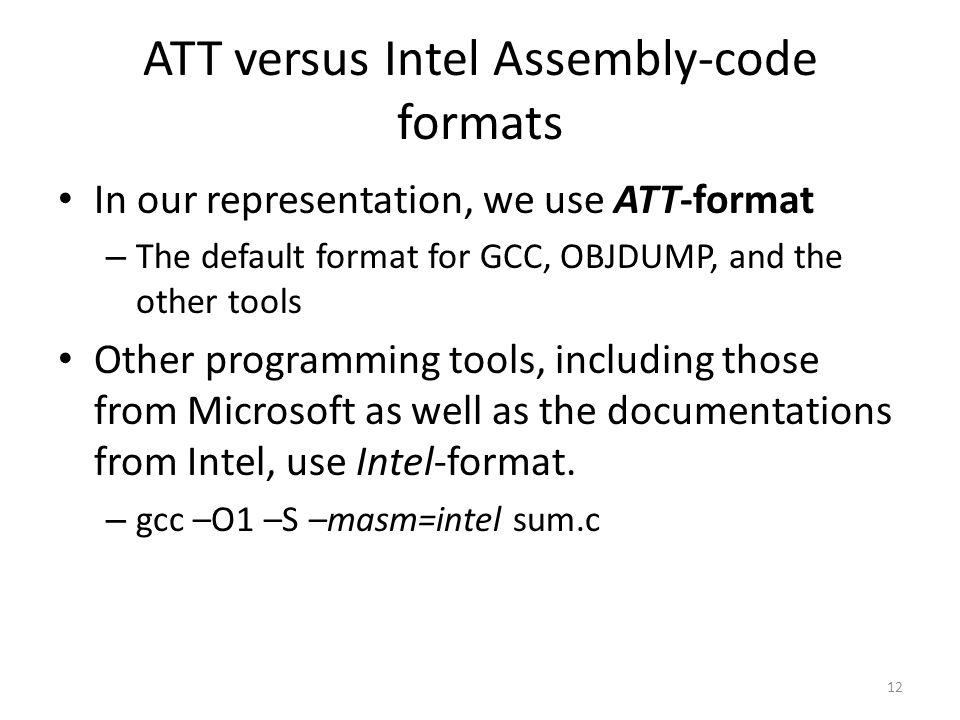 ATT versus Intel Assembly-code formats