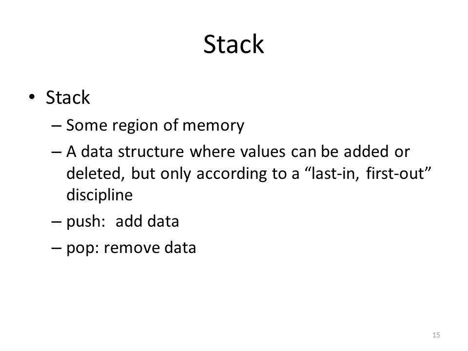 Stack Stack Some region of memory