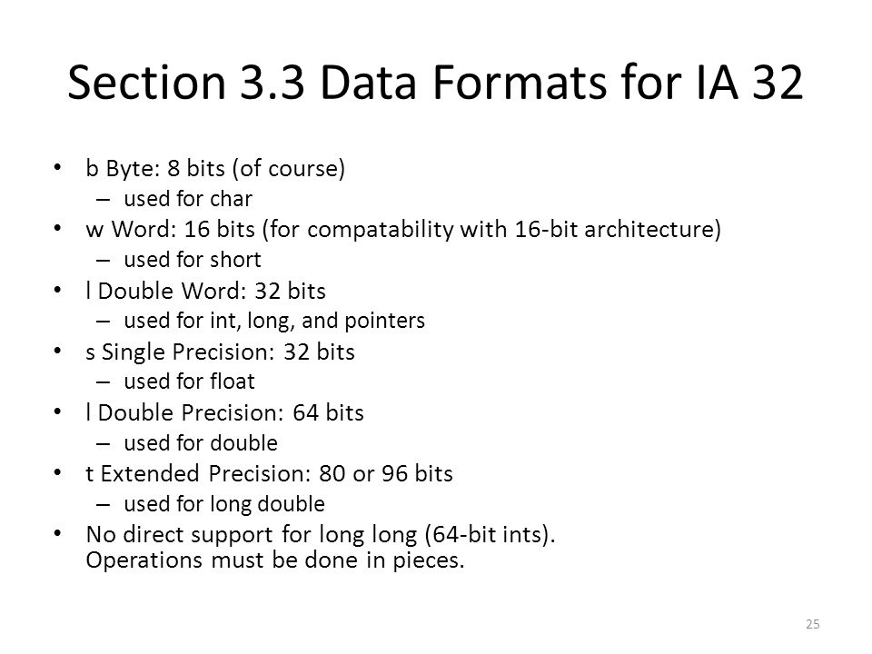 Section 3.3 Data Formats for IA 32
