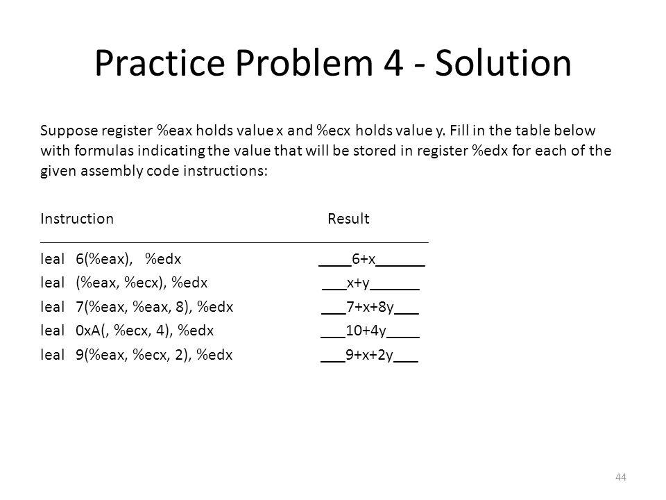 Practice Problem 4 - Solution