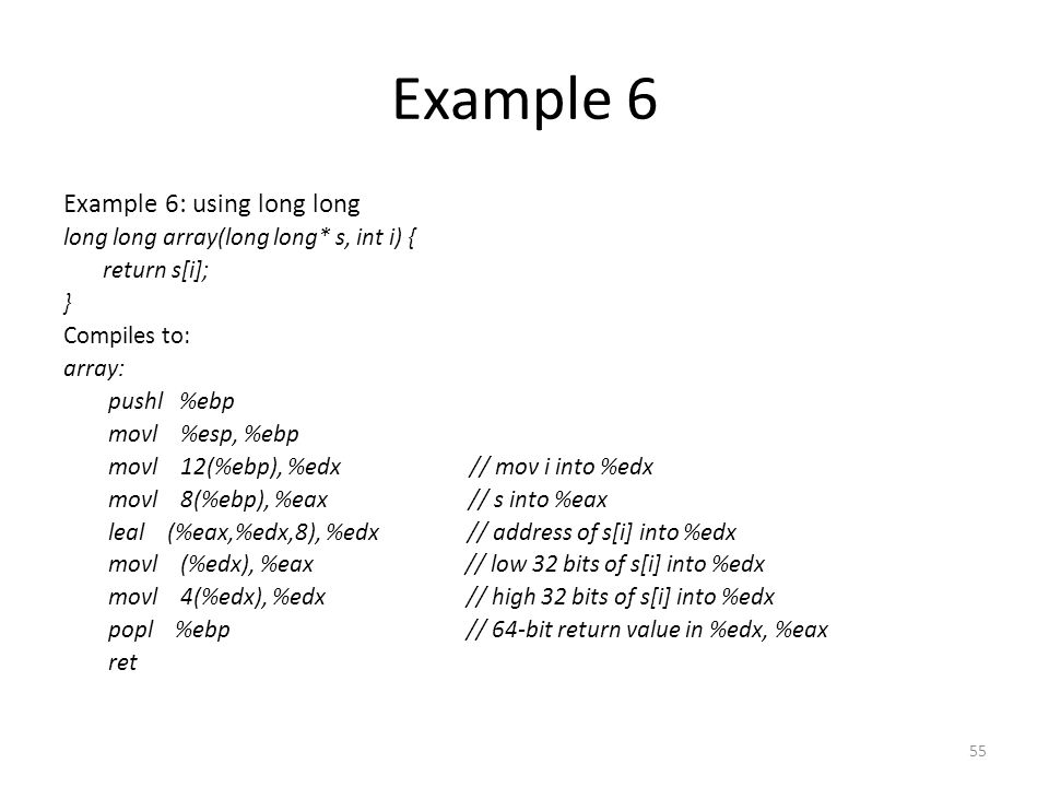 Example 6 Example 6: using long long