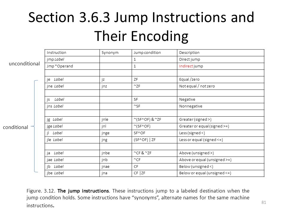 Section Jump Instructions and Their Encoding
