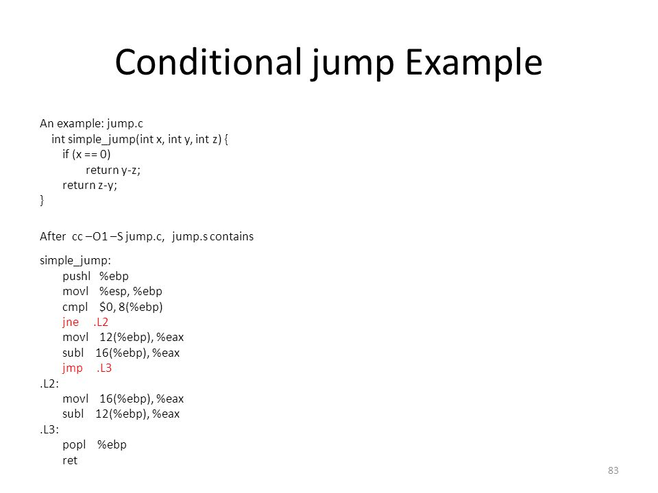 Conditional jump Example