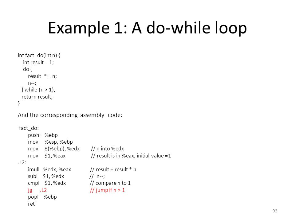 Example 1: A do-while loop