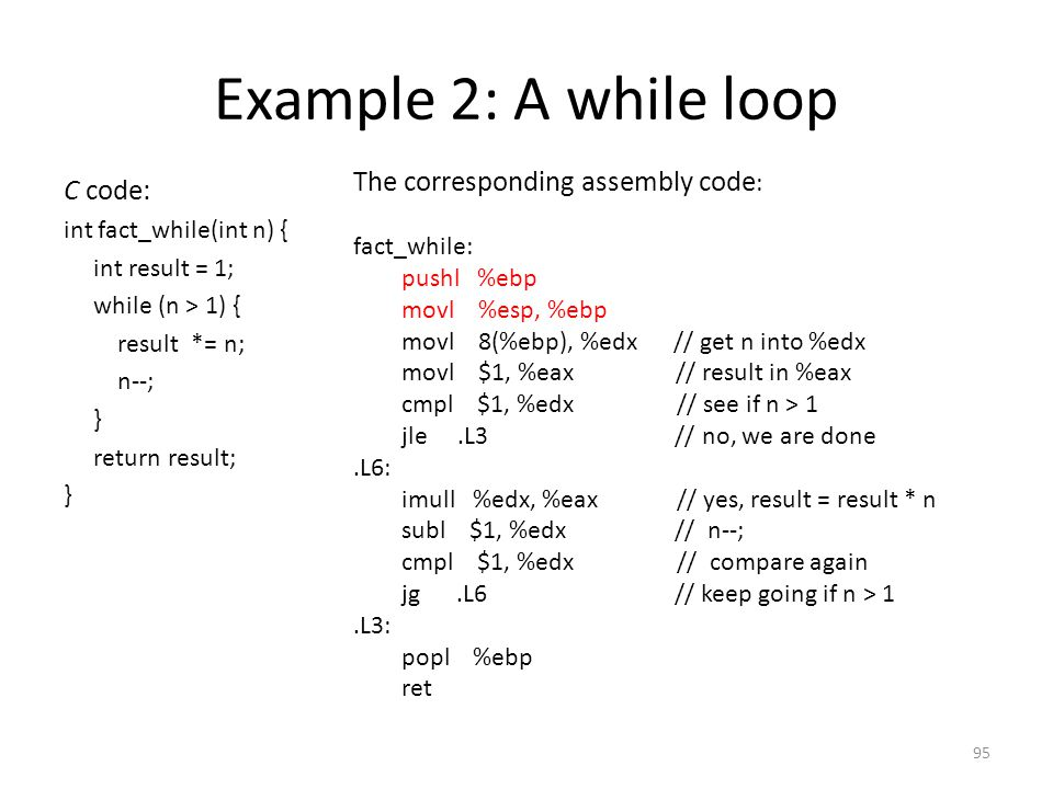 Example 2: A while loop The corresponding assembly code: C code: