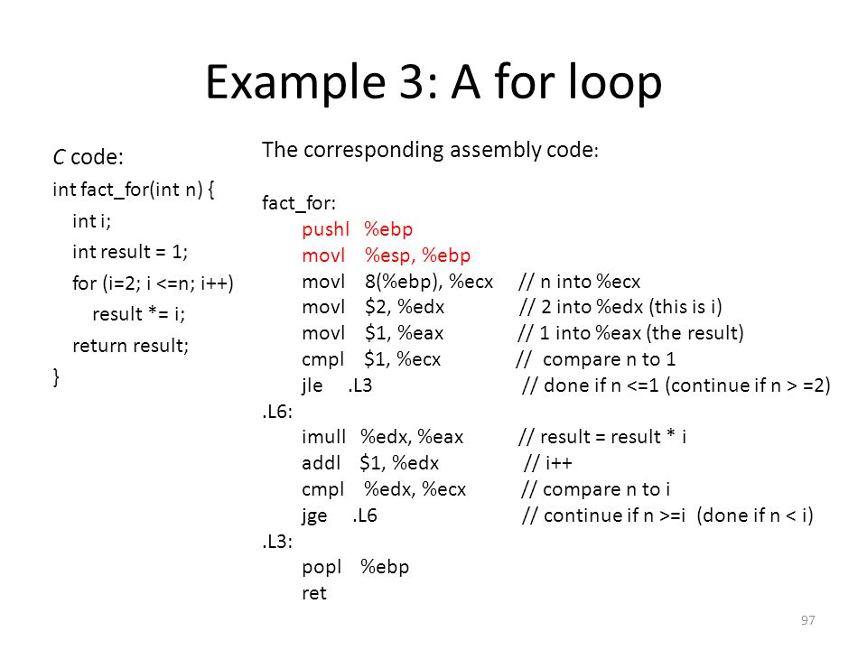 Example 3: A for loop The corresponding assembly code: C code: