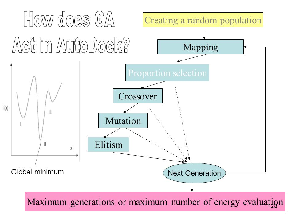 How does GA Act in AutoDock Creating a random population Mapping