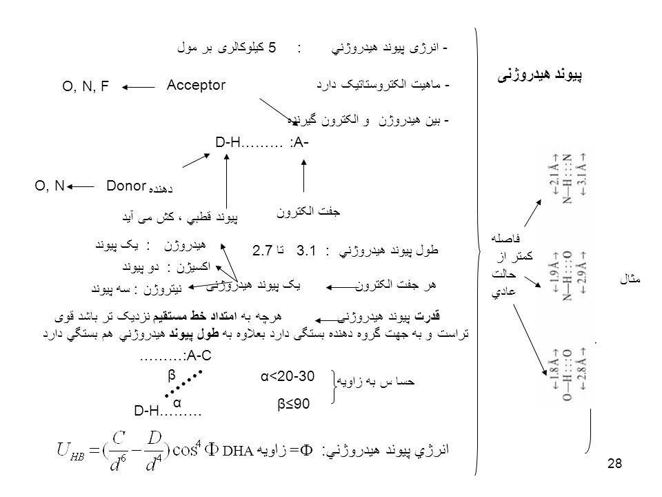 انرژي پيوند هيدروژني: Ф= زاويه DHA