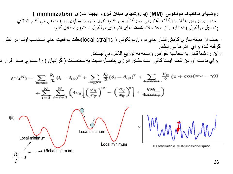 روشهای مکانيک مولکولی (MM) (يا روشهای ميدان نيرو، بهينه سازی minimization )