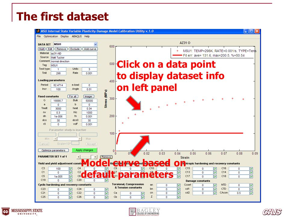 The first dataset Click on a data point to display dataset info
