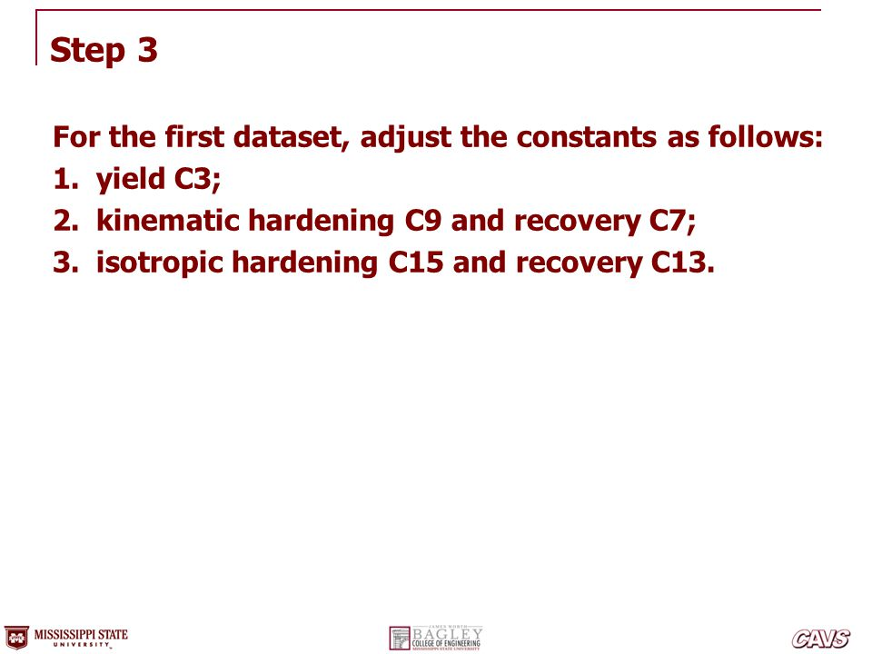 Step 3 For the first dataset, adjust the constants as follows: