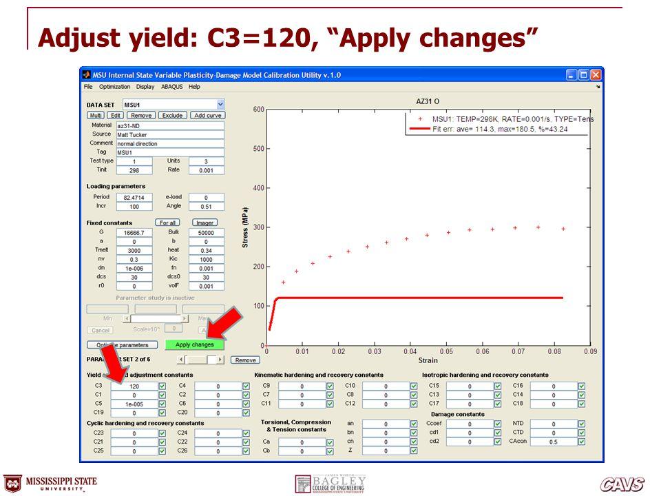 Adjust yield: C3=120, Apply changes