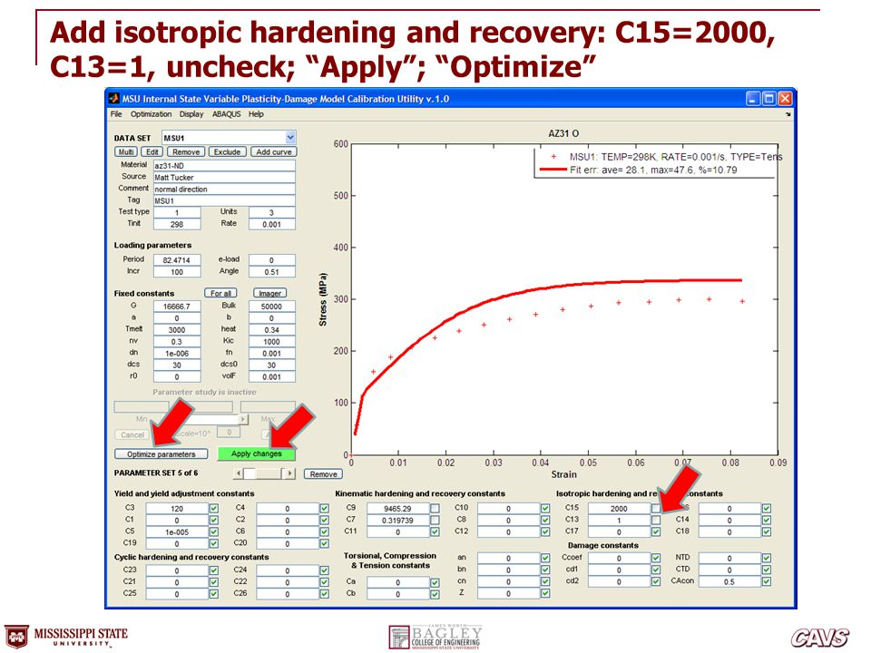 Add isotropic hardening and recovery: C15=2000, C13=1, uncheck; Apply ; Optimize