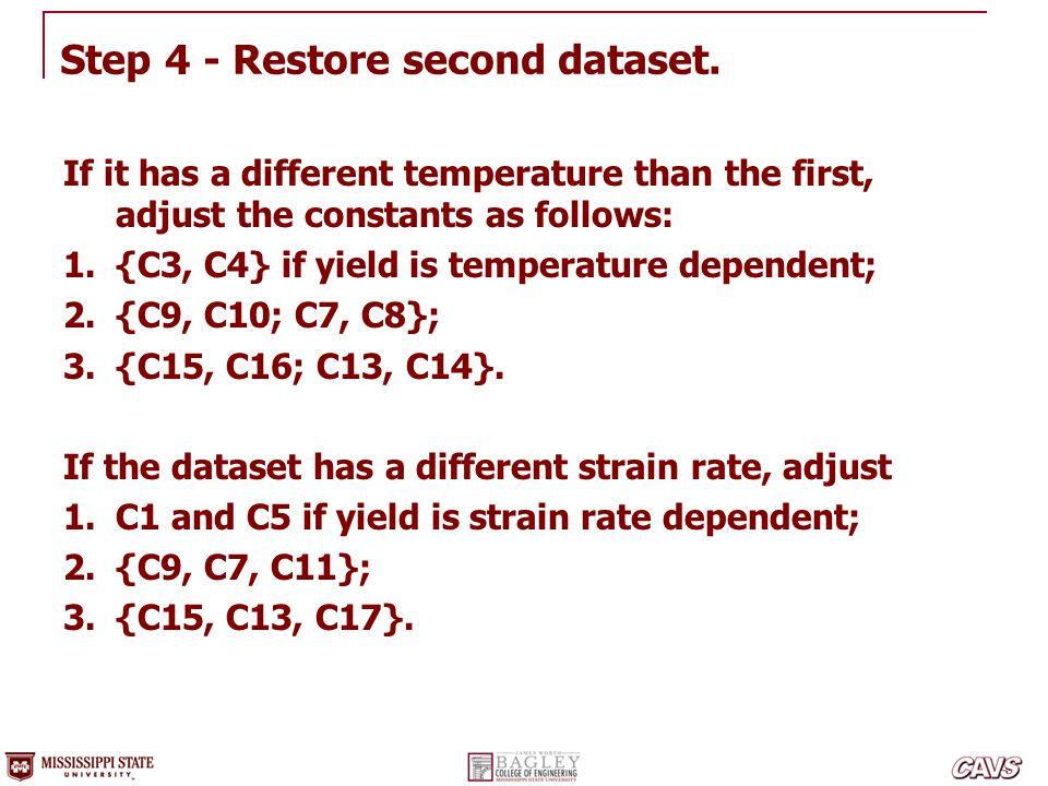 Step 4 - Restore second dataset.