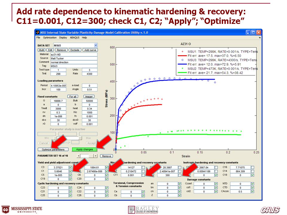 Add rate dependence to kinematic hardening & recovery: C11=0