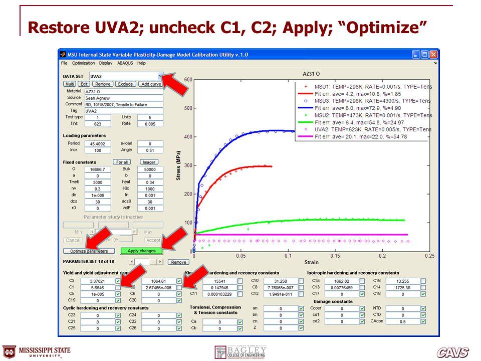 Restore UVA2; uncheck C1, C2; Apply; Optimize